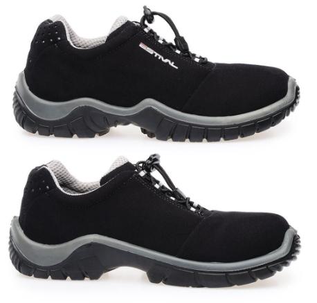 Sapato Ocupacional EN1002 1S2 Em Microfibra Cor Preto e Cinza Estival CA 28140