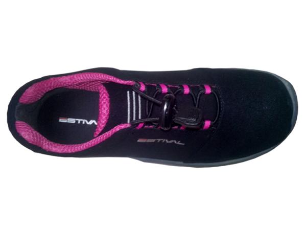 Sapato Ocupacional EN1002 1S2 Em Microfibra Cor Preto e Rosa Estival CA 28140