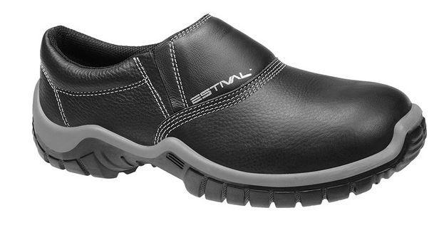 Sapato Ocupacional WO1002 1S1 Em Couro Curtido ao Cromo Com Fechamento em Elástico Cor Preto Estival CA 27852
