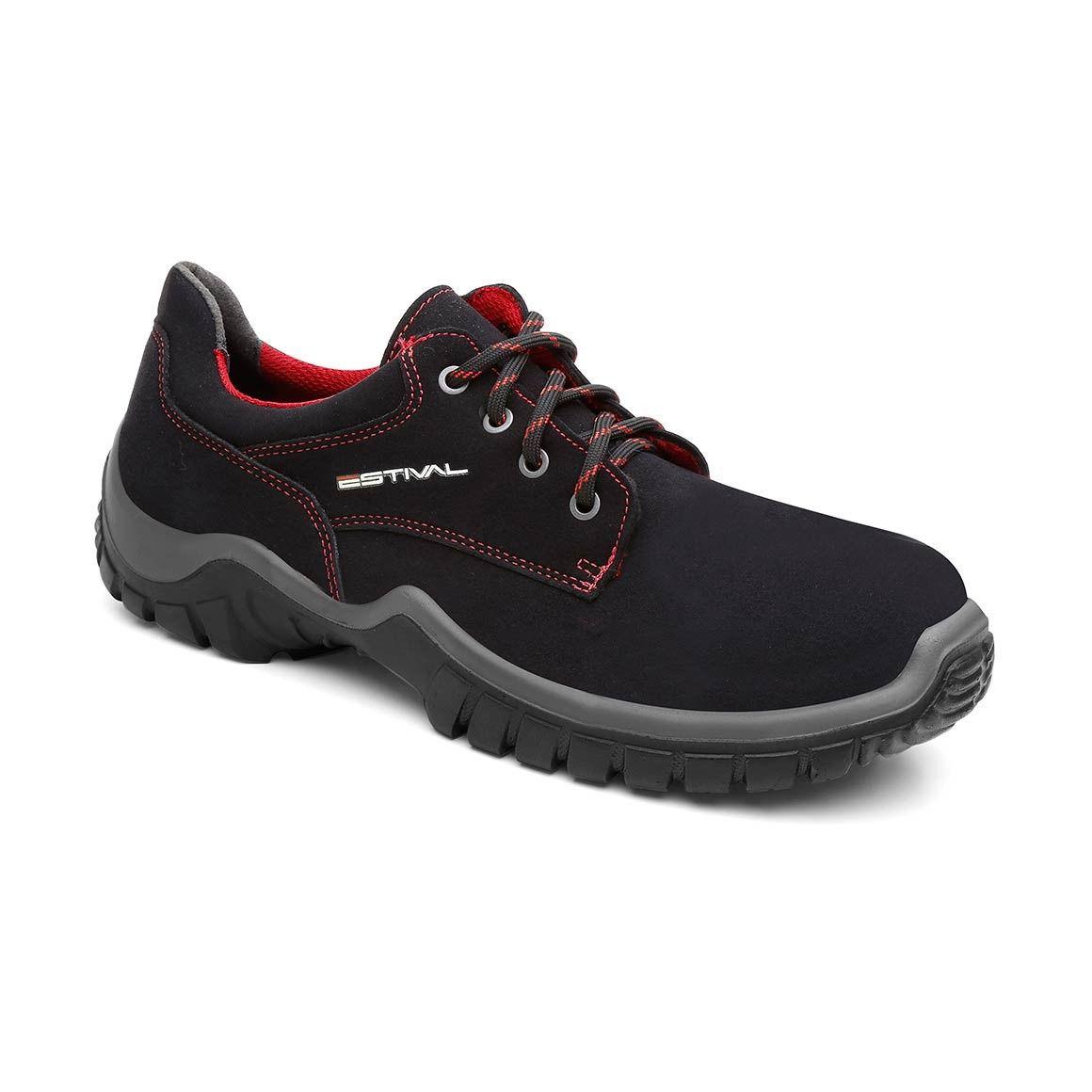 Sapato Ocupacional WO1004 1S2 Rima Em Micro Fibra Cor Preto e Vermelho Estival CA 28140