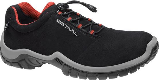 Sapato Segurança EN1002 3S2L Com Bico Composite e Palmilha Resistente a Perfuro Em Microfibra Cor Preta e Vermelho Estival CA 33944