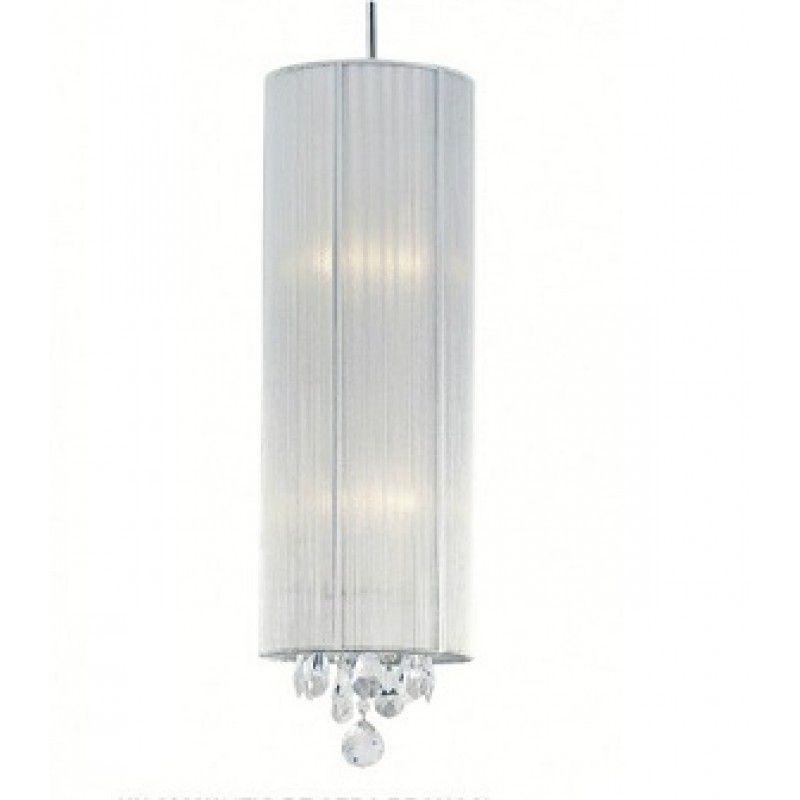 Pendente 20cm 2 Lampada E27 SILK Aço Tecido Seda e Cristal HU2089S Prata