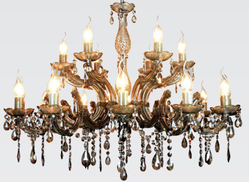 Lustre 18 Lampada E14 Duchessa Cristal Acrilico KH10618C Âmbar  - OUTLED ILUMINAÇÃO