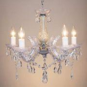 Lustre 5 Lampada E14 Pendente Aço Cristal Acrilico KH1065 Transparente