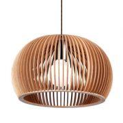 Pendente 60cm Lampada E27 Madeira WOOD LB008 Cromado Bege