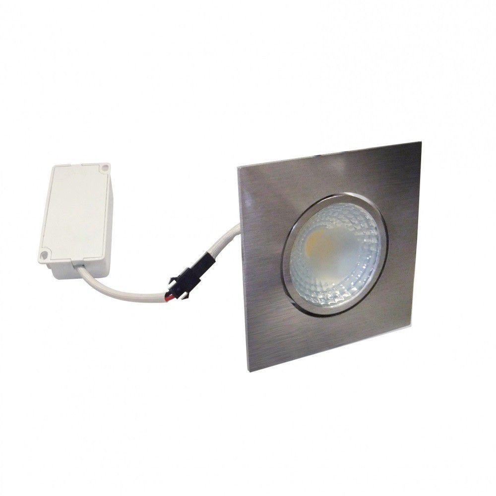 Spot LED 5w 3000k Embutir Quadrado Fosco Escovado COB DL105A   - OUTLED ILUMINAÇÃO