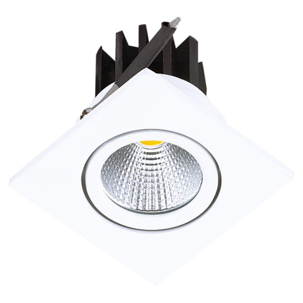 Spot 3w 3000k LED Embutir Quadrado Foko COB Branco DL108Q