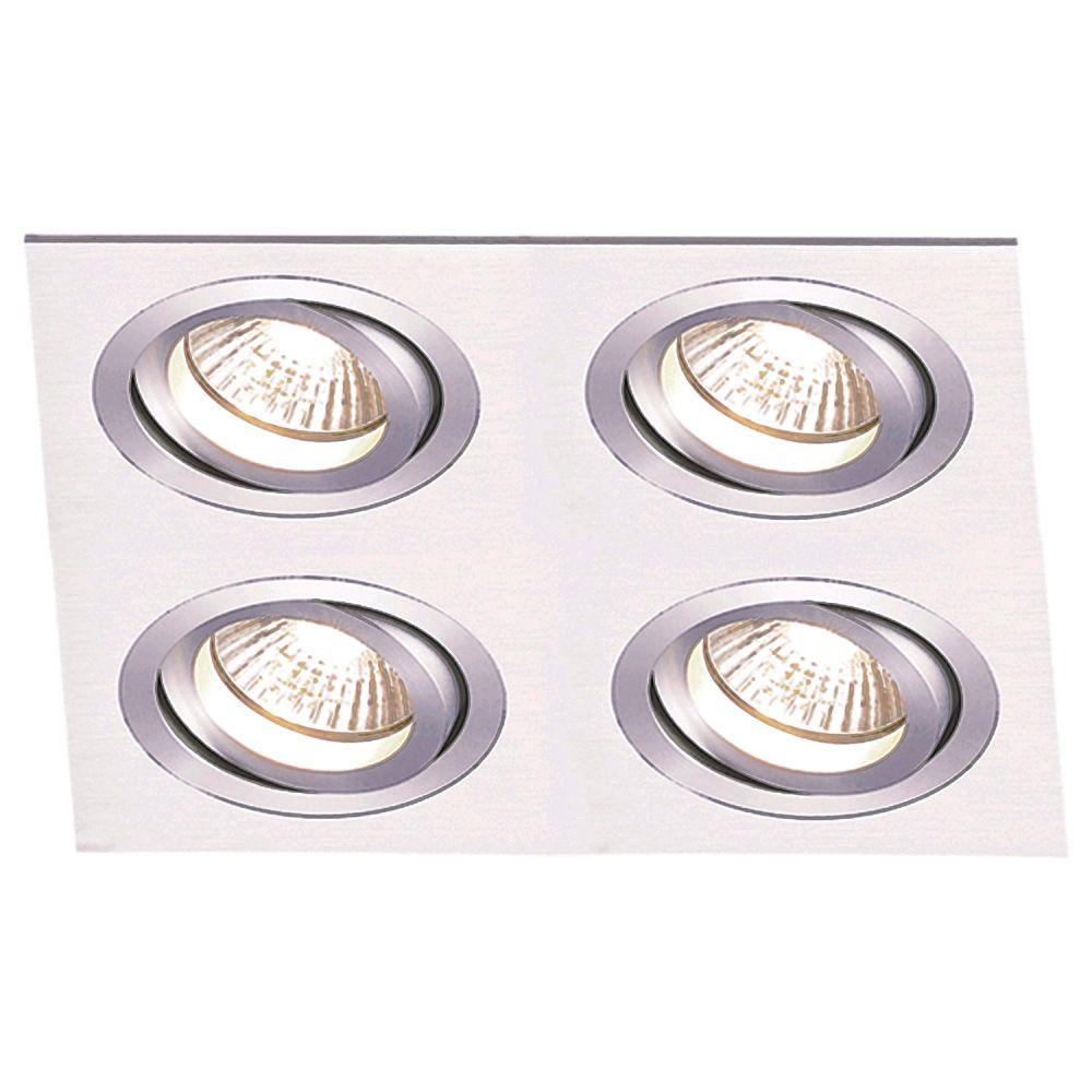 Spot AR111 Embutir Quadrado Ecco Alumínio Escovado NS5114A  - OUTLED ILUMINAÇÃO