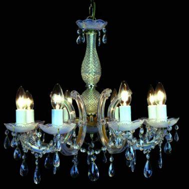 Lustre 8 Lampada E14 Pendente Cristal Acrilico KH1068 Cromado