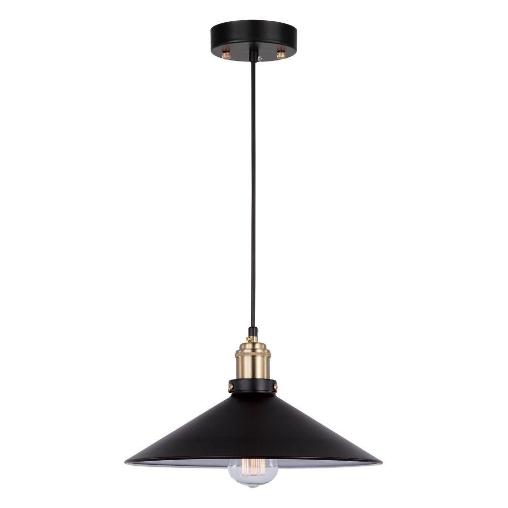 Pendente 32cm Lampada E27 Metal Bronze Preto OP041  - OUTLED ILUMINAÇÃO