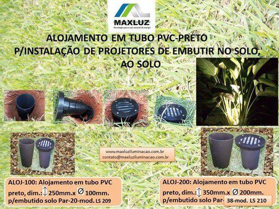 Alojamento Tubular PVC para Projetor Solo Par38 Maxluz ALOJ-200  - OUTLED ILUMINAÇÃO
