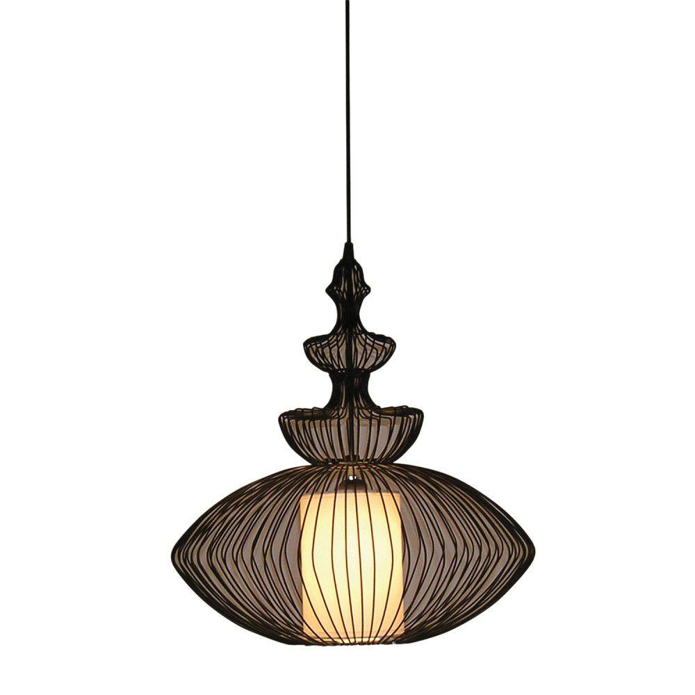 Pendente 45cm Lampada E27 INDIAN Preto GX005  - OUTLED ILUMINAÇÃO