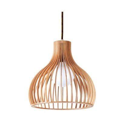 Pendente 45cm Lampada E27 LB005 Wood Madeira Cromado Bege  - OUTLED ILUMINAÇÃO