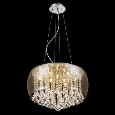 Plafon com Pendente Cúpula em Vidro 50cm Itamonte Iluminação Transparente  - OUTLED ILUMINAÇÃO