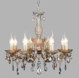 Lustre 8 Lampada E14 Pendente Cristal Acrilico KH1068C Âmbar  - OUTLED ILUMINAÇÃO