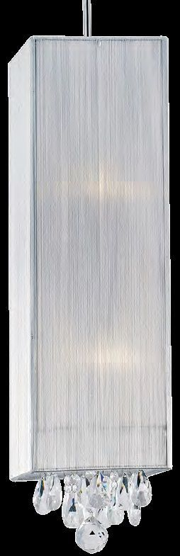 Lustre 2 Lampada E27 Pendente Silk HU2189W Fio de Ceda Cromado Branco  - OUTLED ILUMINAÇÃO