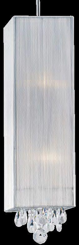Lustre 2 Lampada E27 Pendente Silk HU2189W Fio de Ceda Cromado Branco