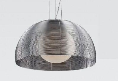 Pendente 50cm Lampada E27 Aco Alumínio e Vidro GA006S Cromado e Prata  - OUTLED ILUMINAÇÃO
