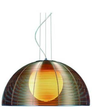 Pendente 40cm Lampada E27 Wire Metal Alumínio Vidro GA007C Cromado e Café  - OUTLED ILUMINAÇÃO