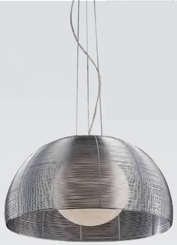 Pendente Metal Alumínio e Vidro GA007S Cromado e Prata  - OUTLED ILUMINAÇÃO