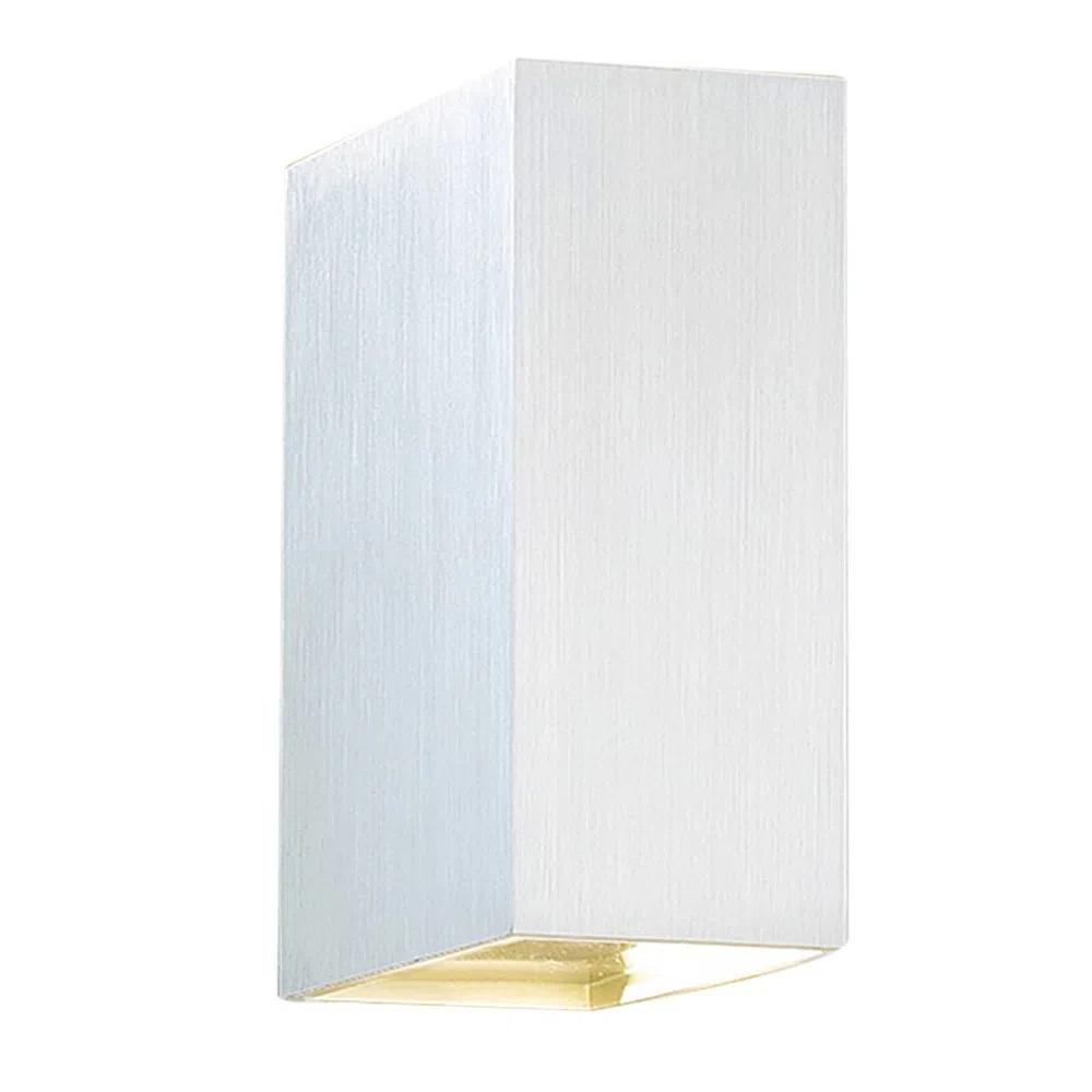 ARANDELA BRICK 5w LED Branco Quente 3000k 5X10X15CMH W1905W PRATA