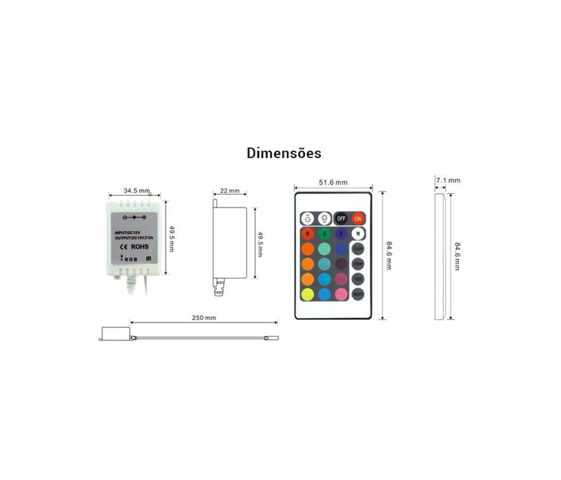 CONTROLE PARA FITA LED RGB AC31149  - OUTLED ILUMINAÇÃO