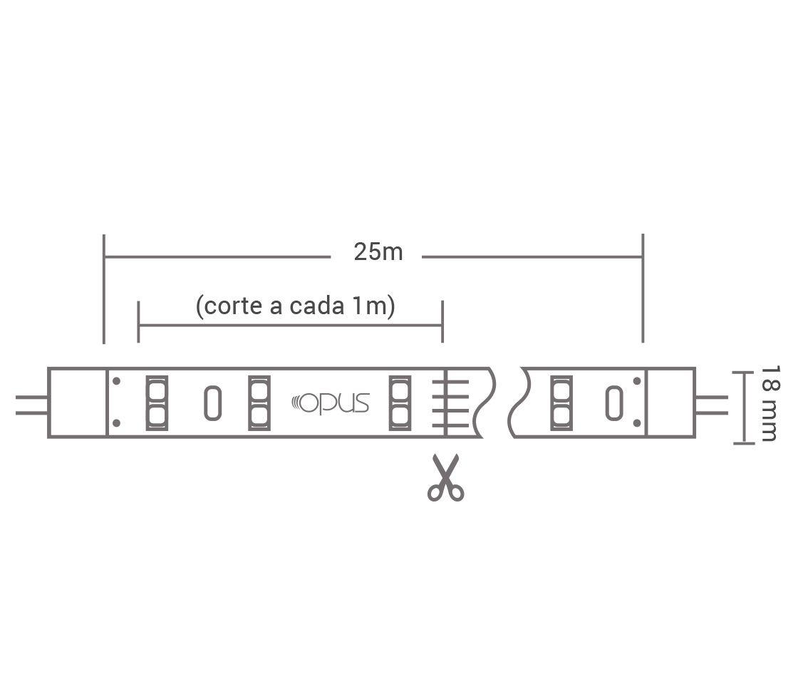Fita Led 10w/M 220v 3000k Branco Quente Smd5050 250w Ip65 25 Metros FT35543  - OUTLED ILUMINAÇÃO