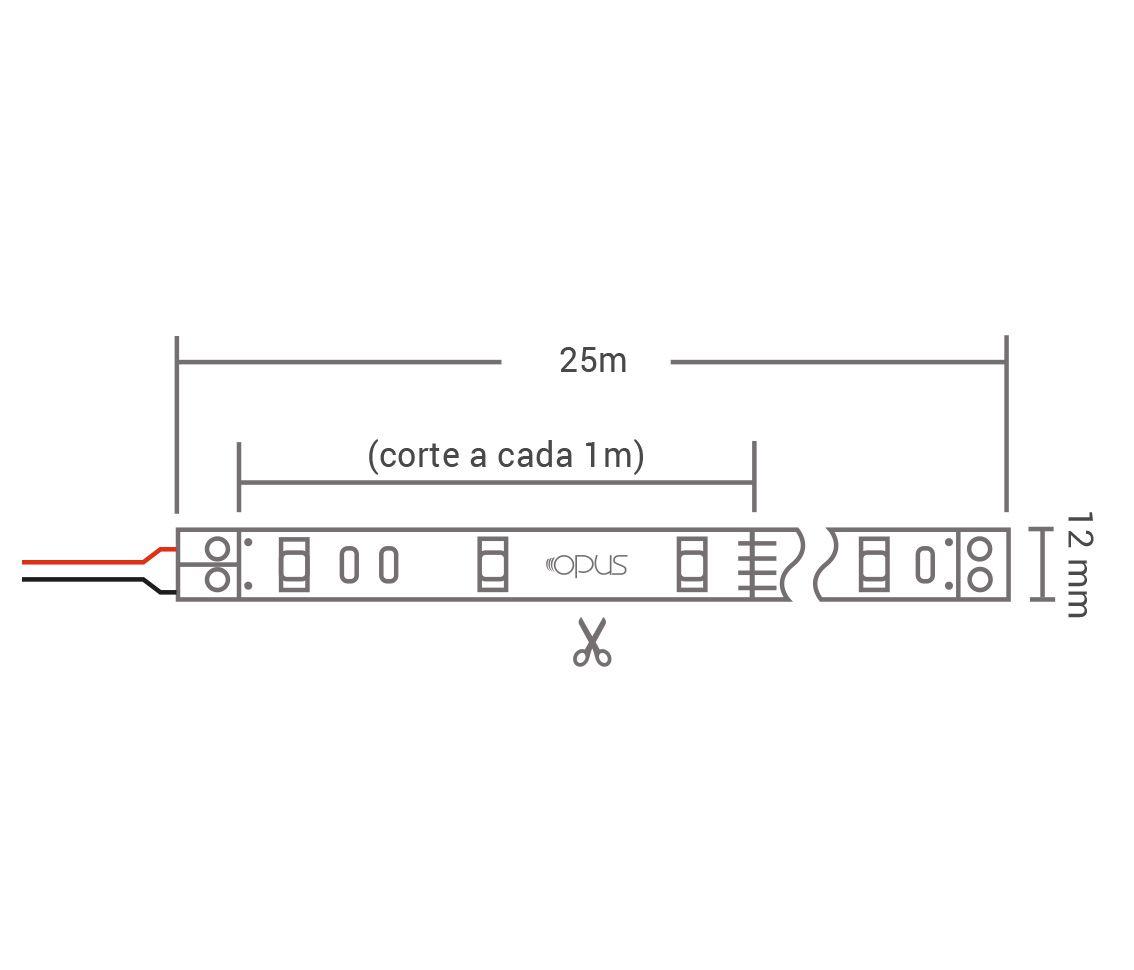 Fita Led 7w/M 220v 3000k Branco Quente Smd5050 175w Ip65 50 Metros FT32313  - OUTLED ILUMINAÇÃO