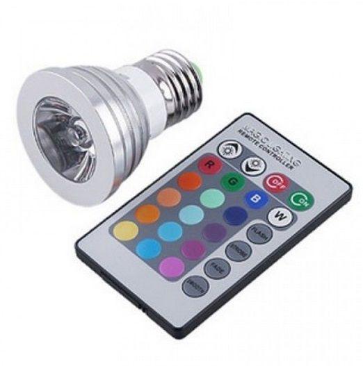 Lampada 3w RGB E27 LED com Controle Remoto Colorido  - OUTLED ILUMINAÇÃO