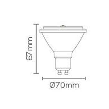 LÂMPADA LED AR70 5W DIMERIZÁVEL GU10 2700K 350Lm GU10 12° LE-3233