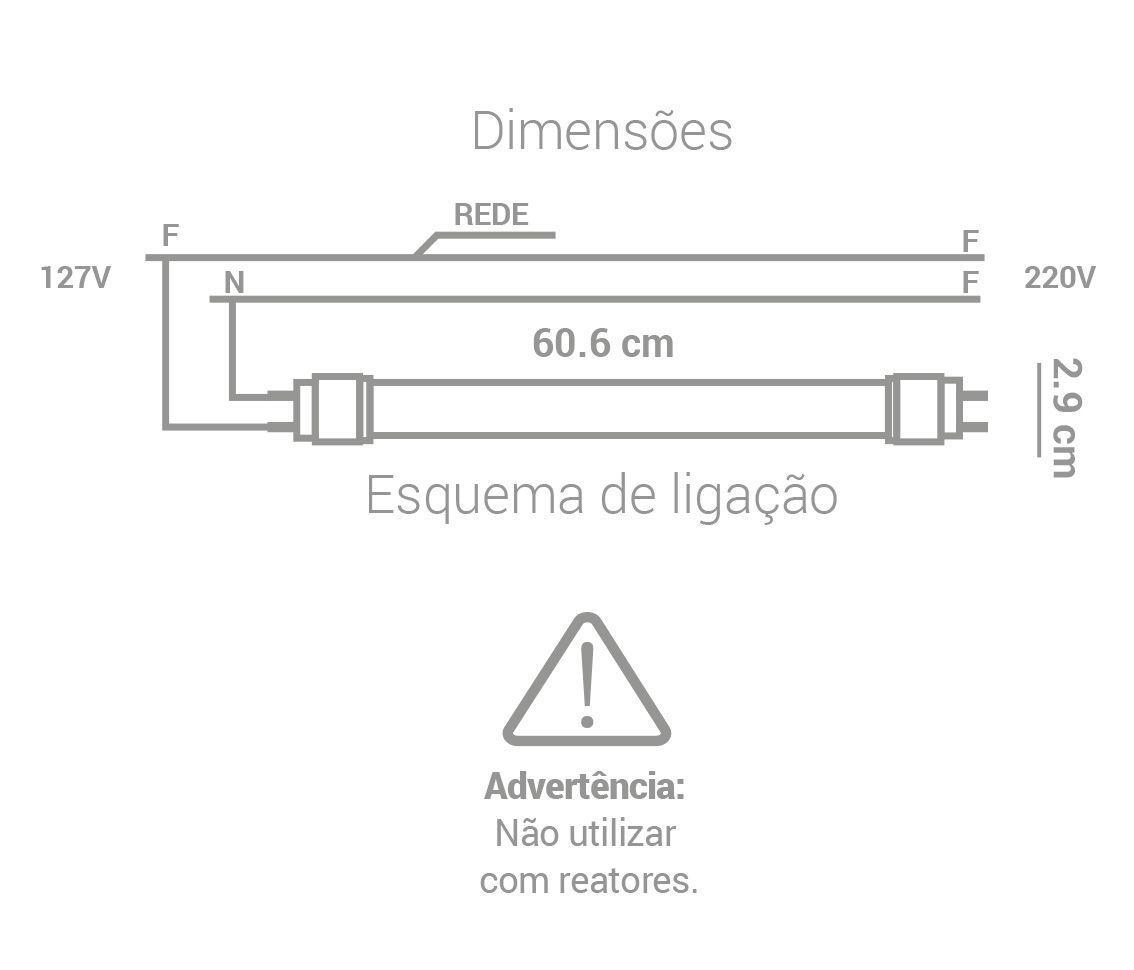 LÂMPADA LED 10W 6500K TUBULAR T8 BRANCO FRIO G13 BIVOLT LP35260  - OUTLED ILUMINAÇÃO
