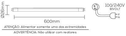 LÂMPADA LED 10W 6500K TUBULAR BRANCO FRIO T8 G-13 LE-3267  - OUTLED ILUMINAÇÃO