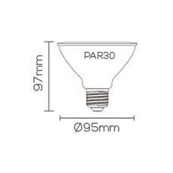 LÂMPADA LED 11W 2700K IP65 PAR30 E-27 BRANCO QUENTE LE-3261