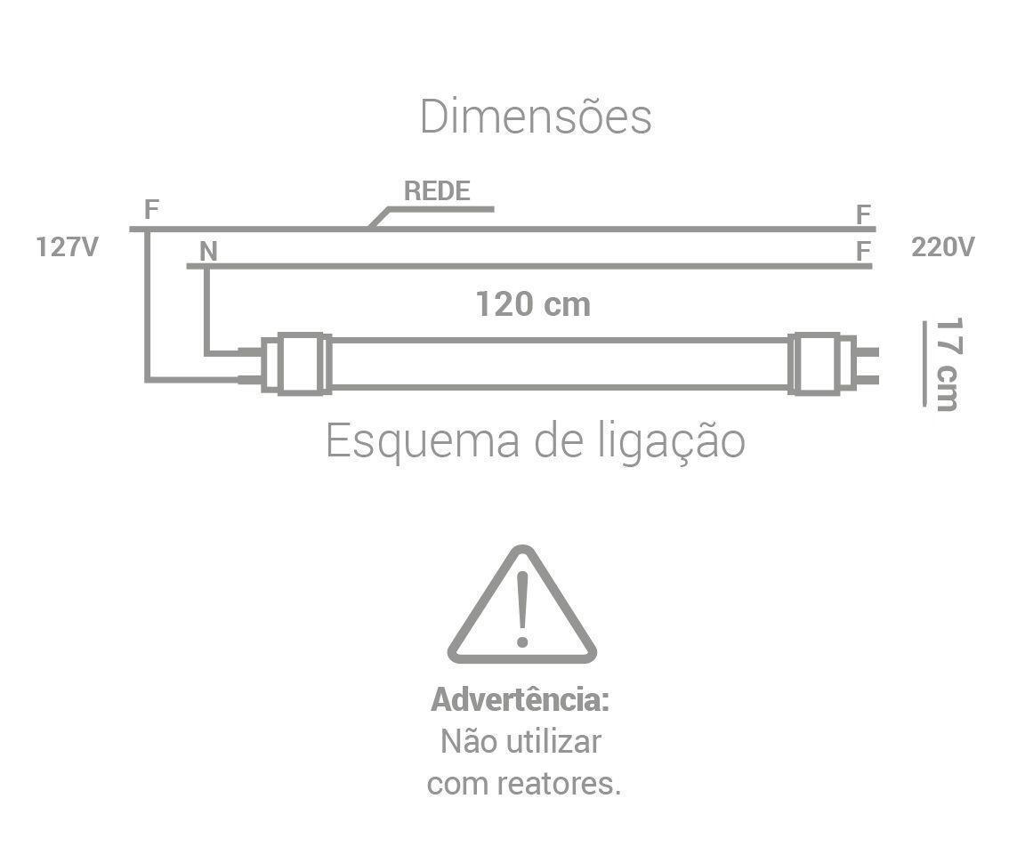LÂMPADA LED 18W 6500K TUBULAR T5 BRANCO FRIO G5 BIVOLT LP35109  - OUTLED ILUMINAÇÃO