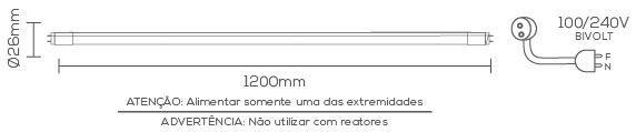 LÂMPADA LED 20W 6500K TUBULAR T8 G-13 BRANCO FRIO LE-3268  - OUTLED ILUMINAÇÃO