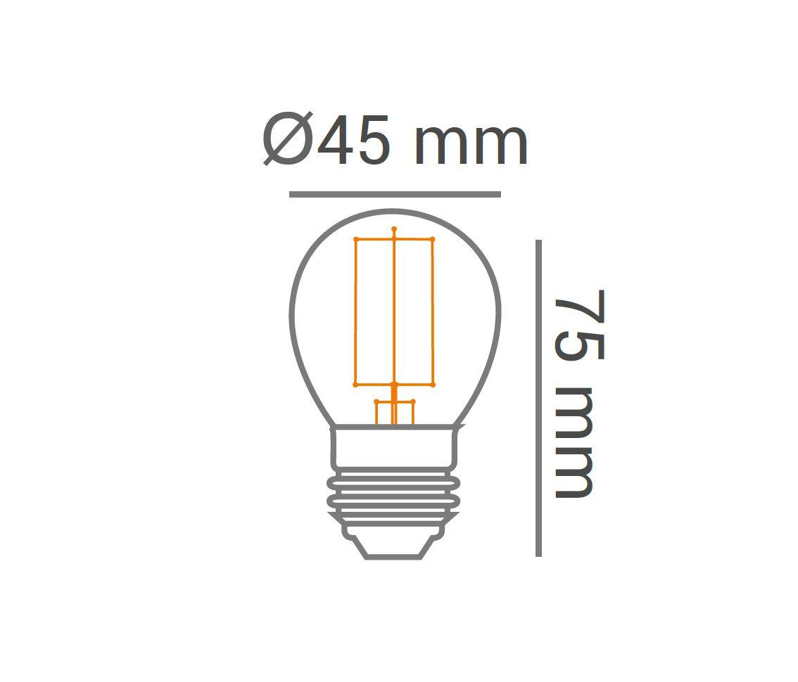 LÂMPADA LED 2W 2200K BRANCO QUENTE BULBO BOLINHA G45 CARBON E27 BIVOLT LP33334