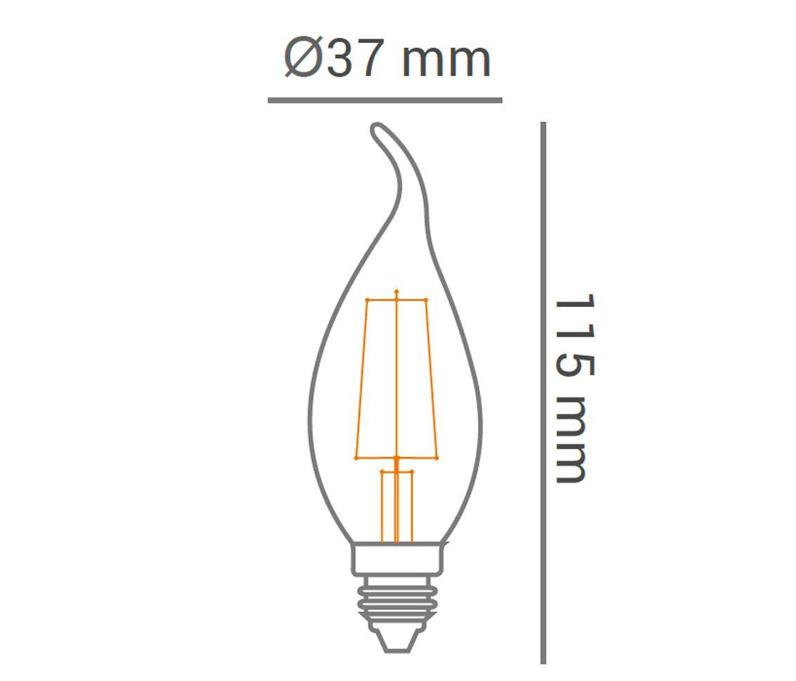 Lâmpada Led 2w 2200k Branco Quente Vela Com Bico Carbon E14 Bivolt LP33327