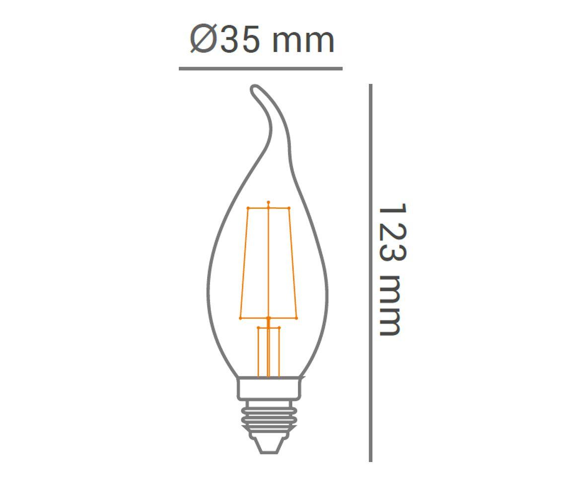 Lâmpada Led 2w 2700k Branco Quente Vela Filamento Com Bico E14 220v LP31866  - OUTLED ILUMINAÇÃO