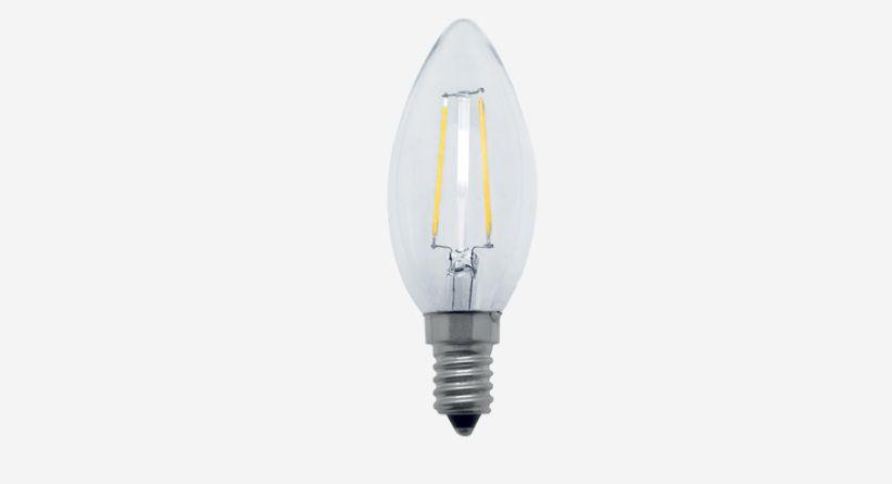 Lampada Led 2w 2700k Branco Quente Vela Filamento Sem Bico E14 127v LP31835  - OUTLED ILUMINAÇÃO