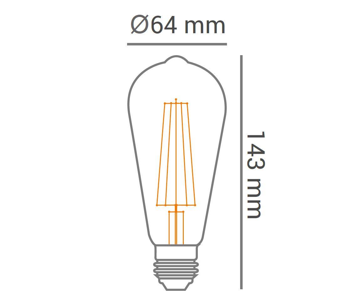 Lâmpada Led 4w 2700k Branco Quente ST64 Filamento E27 Bivolt LP34836  - OUTLED ILUMINAÇÃO