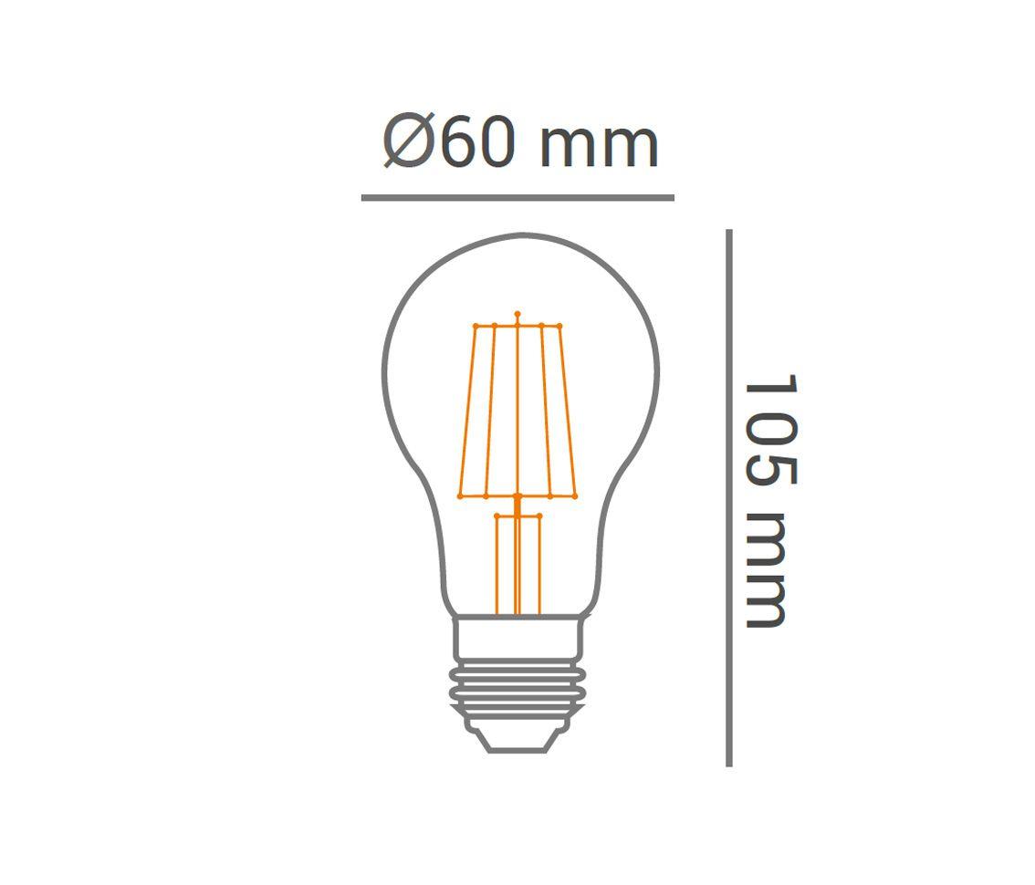 Lampada LED 4w 2700k Bulbo Filamento A60 E27 Branco Quente Cristal  - OUTLED ILUMINAÇÃO