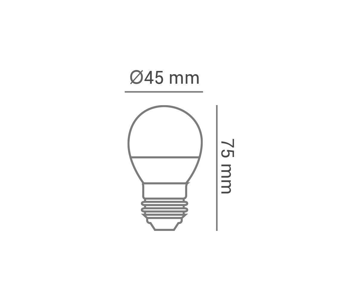 LÂMPADA LED 5W 2700K BRANCO QUENTE BULBO BOLINHA G45 E27 BIVOLT LP34171  - OUTLED ILUMINAÇÃO