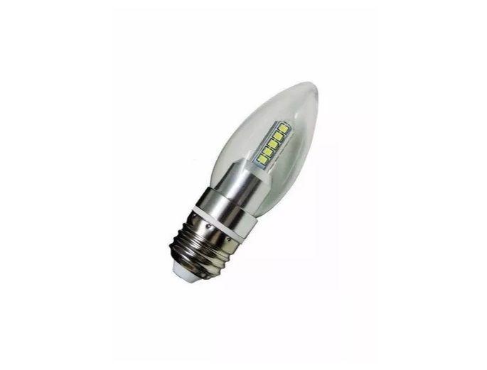 Lampada LED 5w 3000K Vela Cristal E27 Branco Quente sem Bico  - OUTLED ILUMINAÇÃO