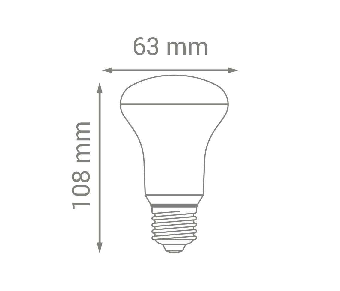 Lâmpada Led 8w 6000k Branco Frio Bulbo R63 E27 Bivolt LP34232