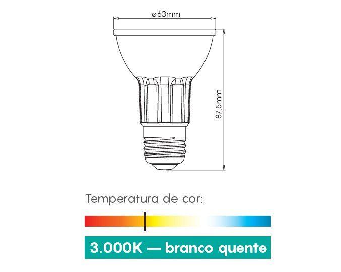 Lampada LED 8w 3000k PAR20 E27 525LM Bivolt LP014C  - OUTLED ILUMINAÇÃO