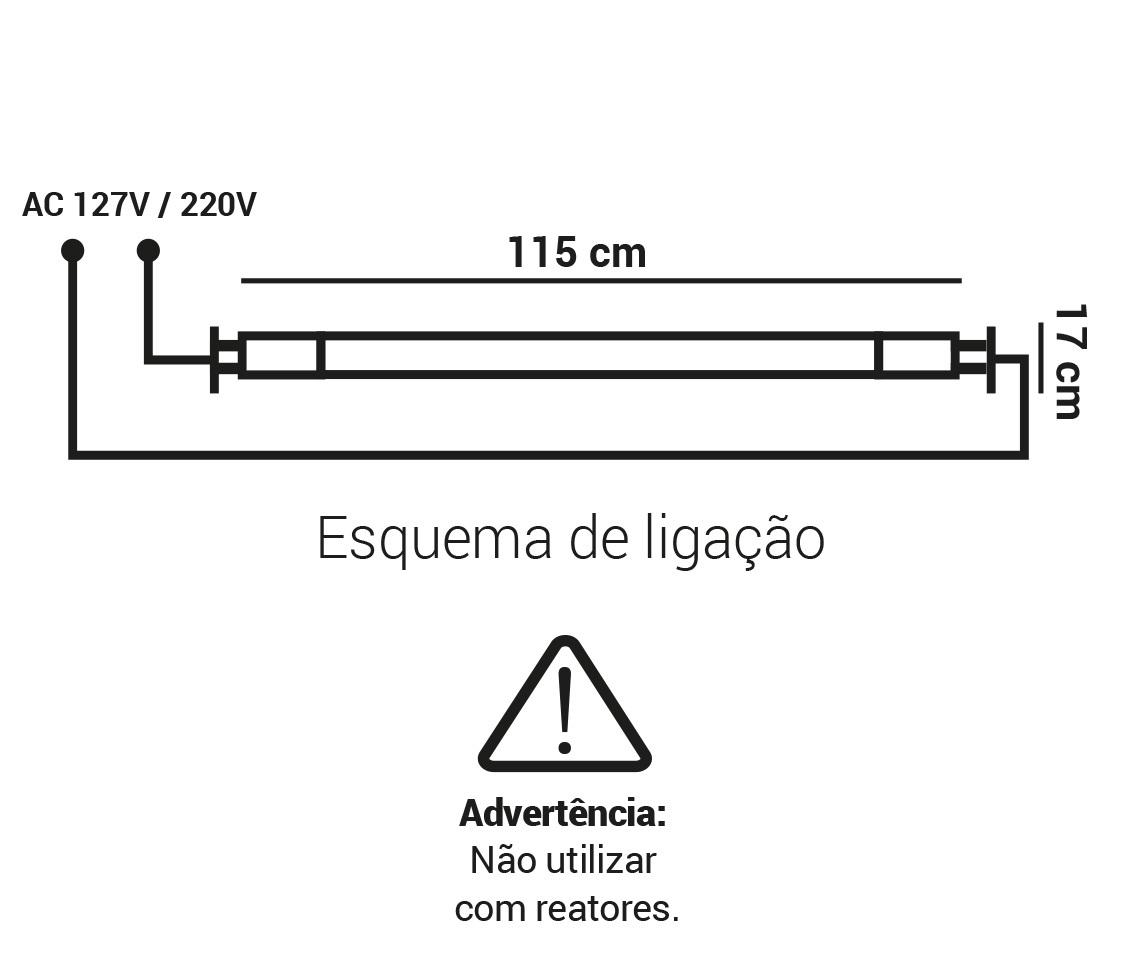 LAMPADA TUBULAR T5 18W LED 3000K BRANCO QUENTE G5 BIVOLT LP 35055