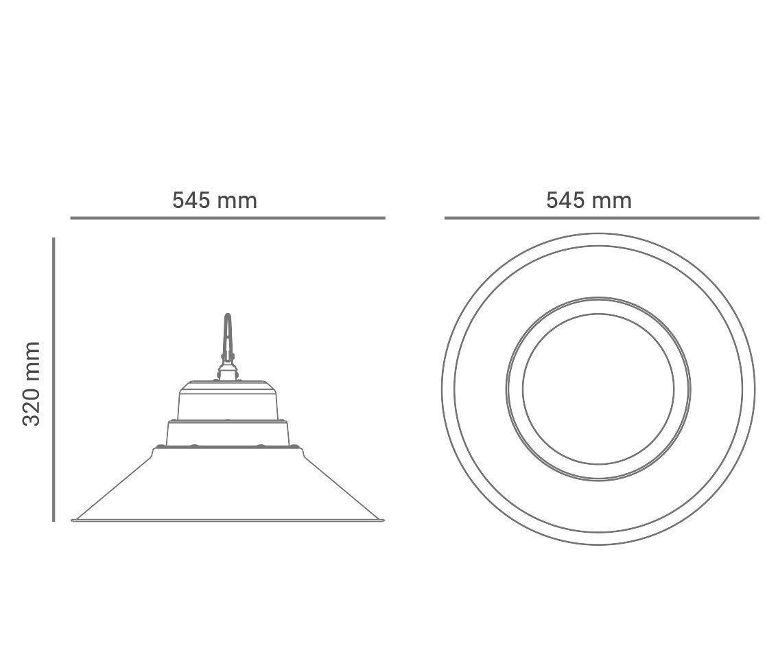 Luminária Pendente Industrial 150w 5700k Branco Frio High Bay Bivolt Pro 30012