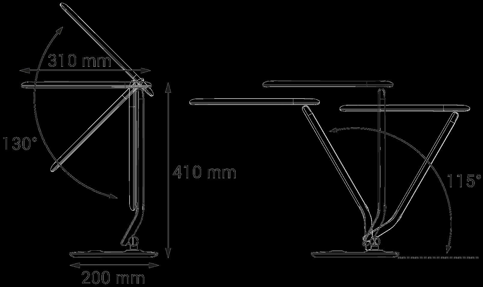 Luminária Mesa Abajur 8w LED 380Lm 5700k BF Dobrável Articulada Recarregável Dimmer Touch HM31194