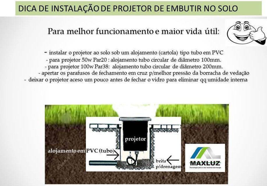 Luminaria PAR38 Projetor E27 Embutir Solo LS210 Preto Maxluz  - OUTLED ILUMINAÇÃO