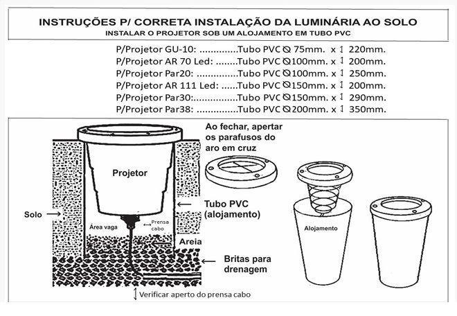 Luminaria PAR38 Projetor E27 Embutir Solo LS210G com Grade  - OUTLED ILUMINAÇÃO